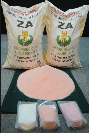 Pupuk ZA bersubsidi berwarna pink